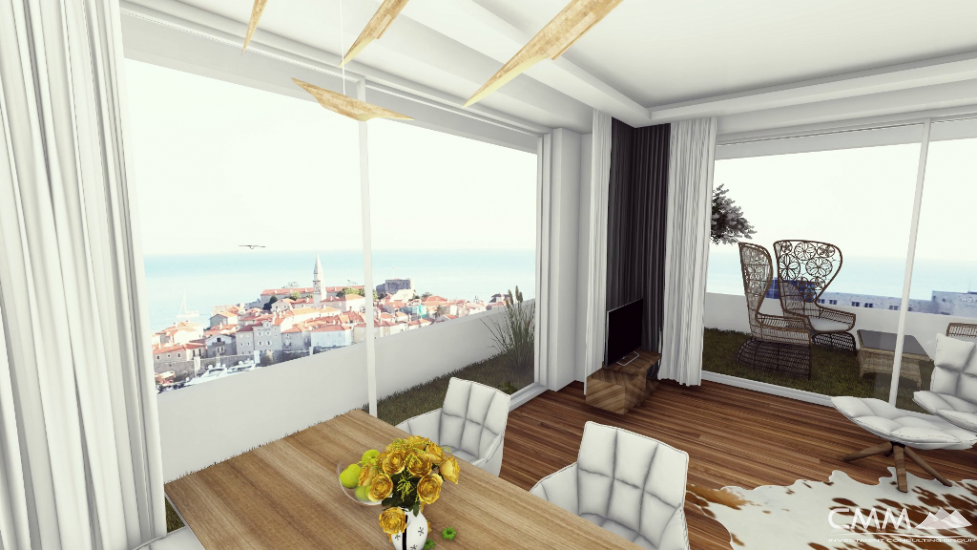 An apartment with sea view in Budva